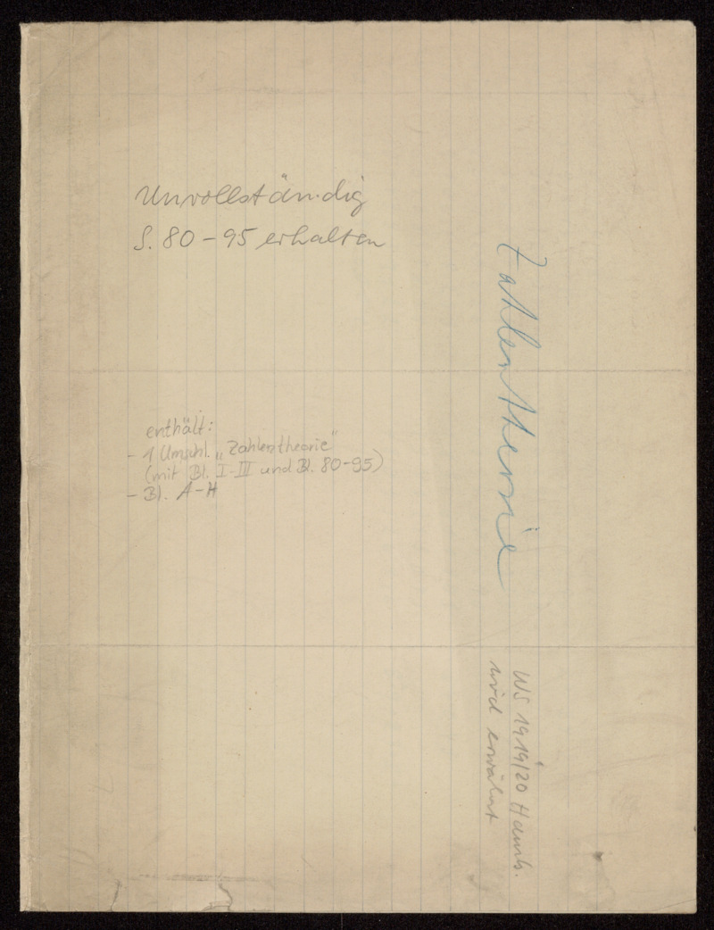 Zahlentheorie [Vorlesung], Hamburg, 1919 - 1920