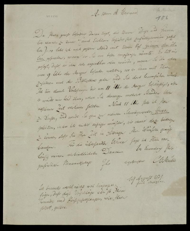 Brief von Karl Otfried Müller an Abraham Hayward, Göttingen, 19.8.1831
