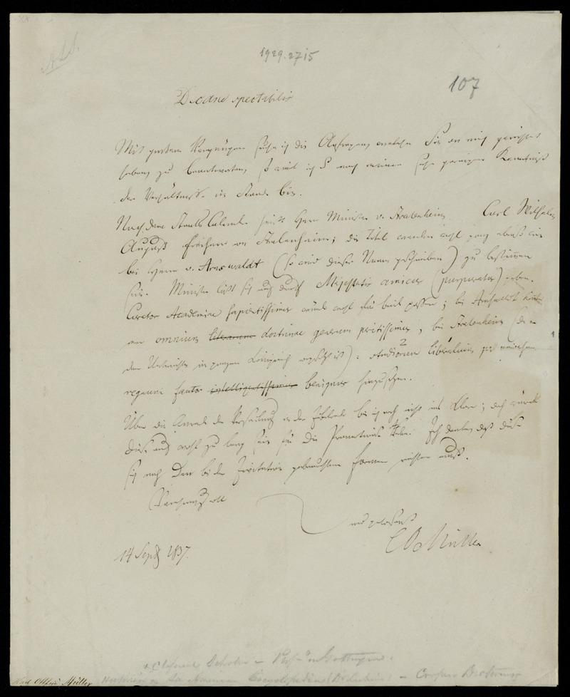 Brief von Karl Otfried Müller an Johann Friedrich Herbart, Göttingen, 14.9.1837