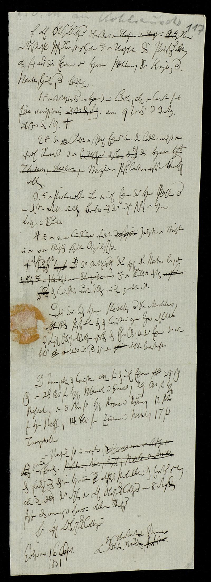 Brief von Karl Otfried Müller an Heinrich Friedrich Theodor Kohlrausch, Göttingen, 16.9.1831