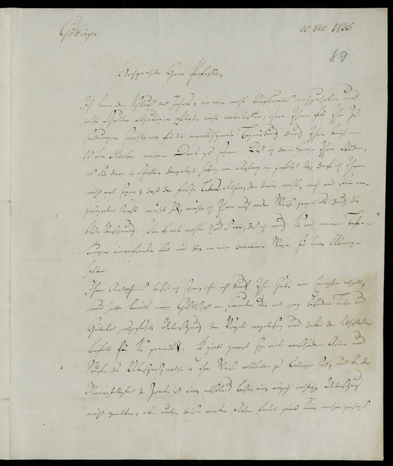 Brief von Karl Otfried Müller an Johann Gustav Droysen, Göttingen, 30.12.1835