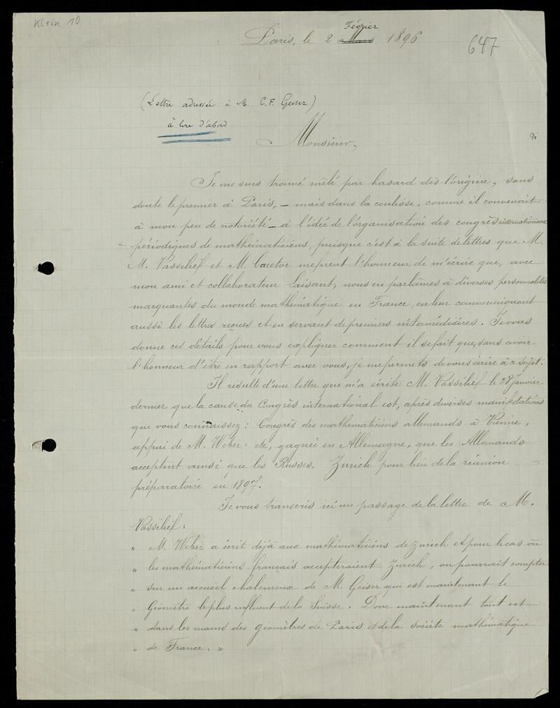 Brief von Emile Lemoine an Carl Friedrich Geiser, Paris, 2.2.1896