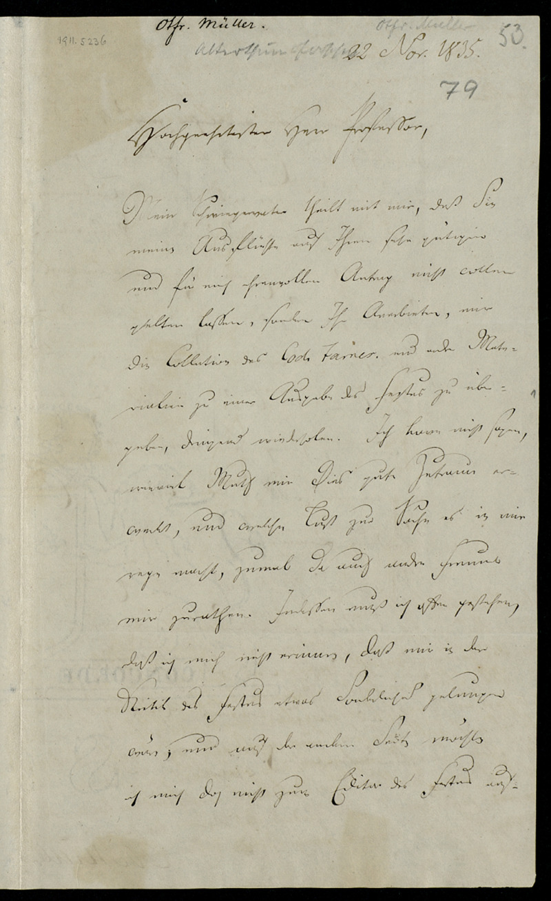 Brief von Karl Otfried Müller an Eduard Böcking, Göttingen, 22.11.1835
