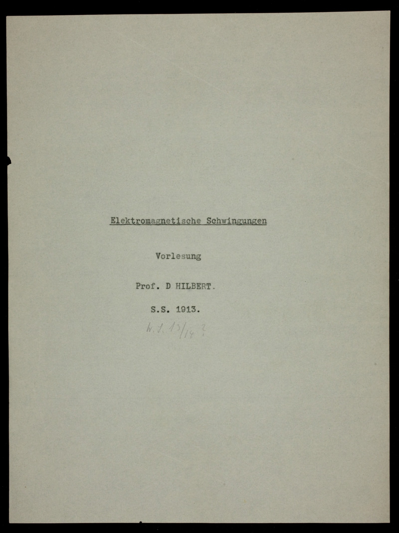 Elektromagnetische Schwingungen :Vorlesungsausarbeitung