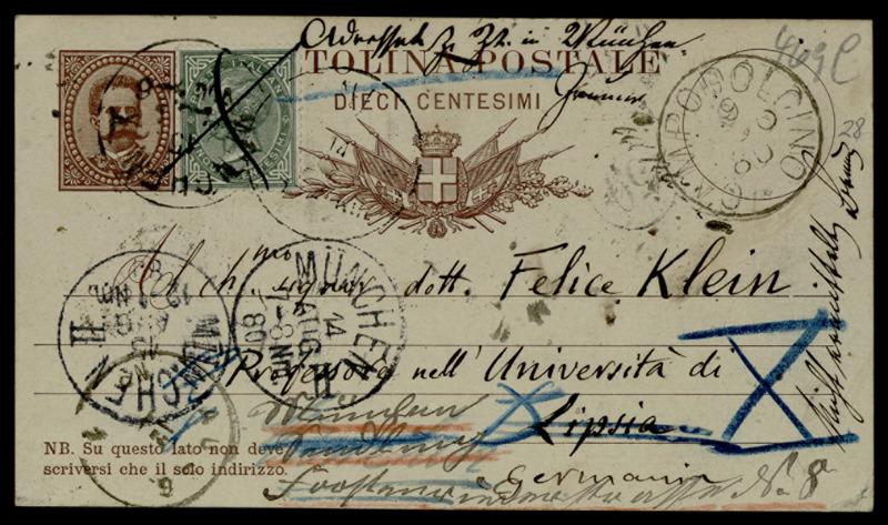 Postkarte von Felice Casorati an Felix Klein, Madesimo, 8.8.1880