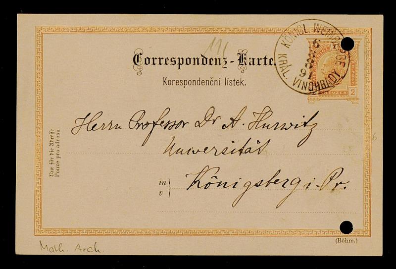 Postkarte von Matthias Lerch an Adolf Hurwitz, Kral. Vinohrady Königl. Weinberge [bei Prag], 1891