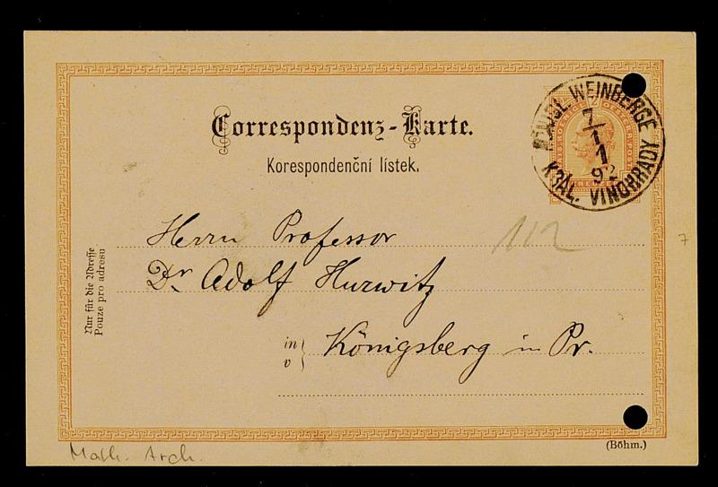Postkarte von Matthias Lerch an Adolf Hurwitz, Kral. Vinohrady Königl. Weinberge [bei Prag], 5.1.1892