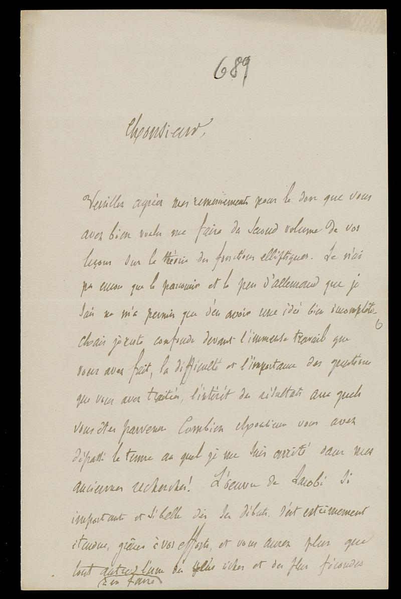 Brief von Charles Hermite an Felix Klein, Flanville, 29.9.1892