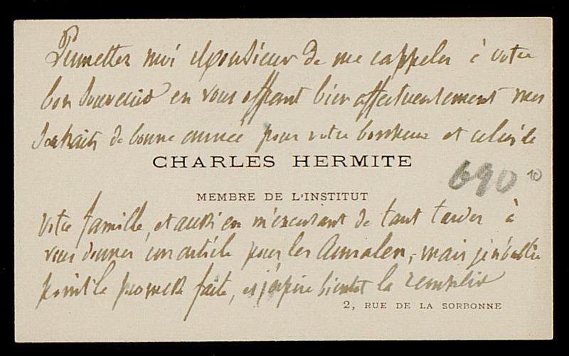 Visitenkarte mit persönlichem Gruß von Charles Hermite an Felix Klein, Ohne Ort
