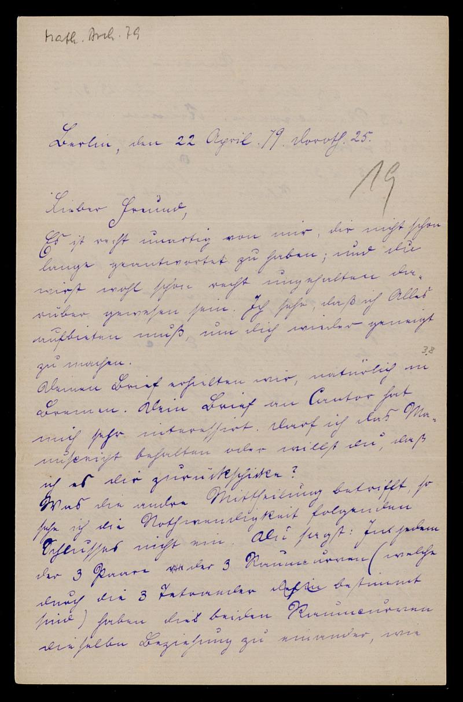 Brief von Carl Runge an Adolf Hurwitz, Berlin, 22.4.1879