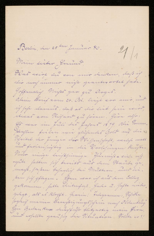 Brief von Carl Runge an Adolf Hurwitz, Berlin, 25.1.1880
