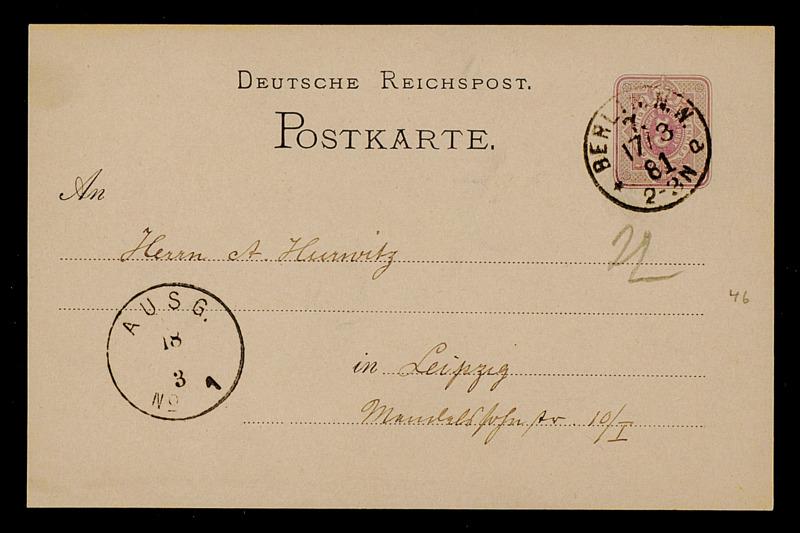 Postkarte von Carl Runge an Adolf Hurwitz, Berlin, 17.3.1881