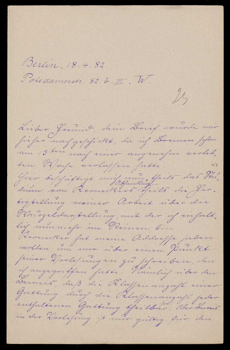 Brief von Carl Runge an Adolf Hurwitz, Berlin, 18.4.1882