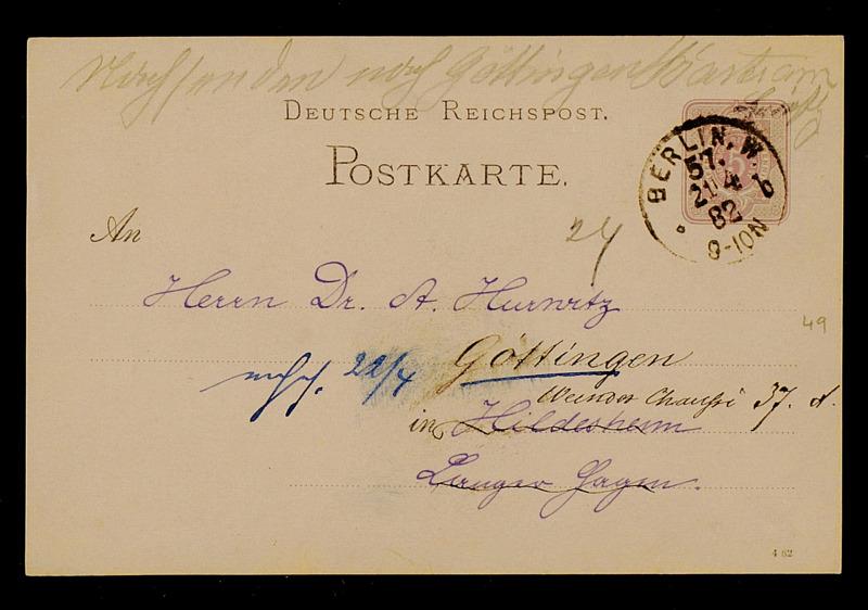 Postkarte von Carl Runge an Adolf Hurwitz, Berlin, 21.4.1882