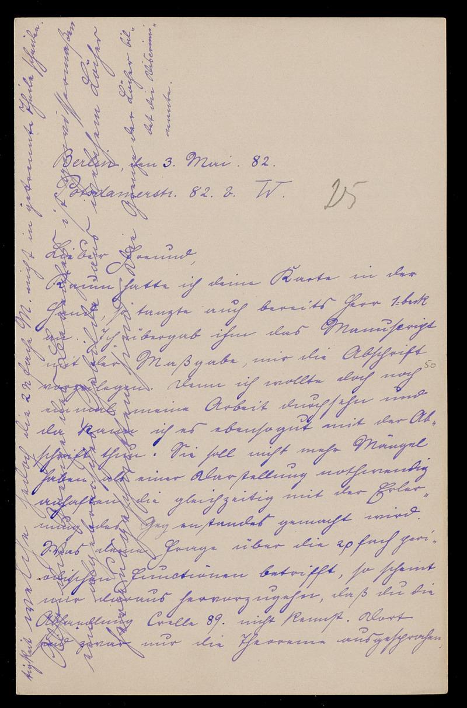 Brief von Carl Runge an Adolf Hurwitz, Berlin, 3.5.1882