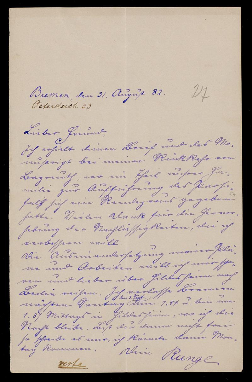 Brief von Carl Runge an Adolf Hurwitz, Bremen, 31.8.1882