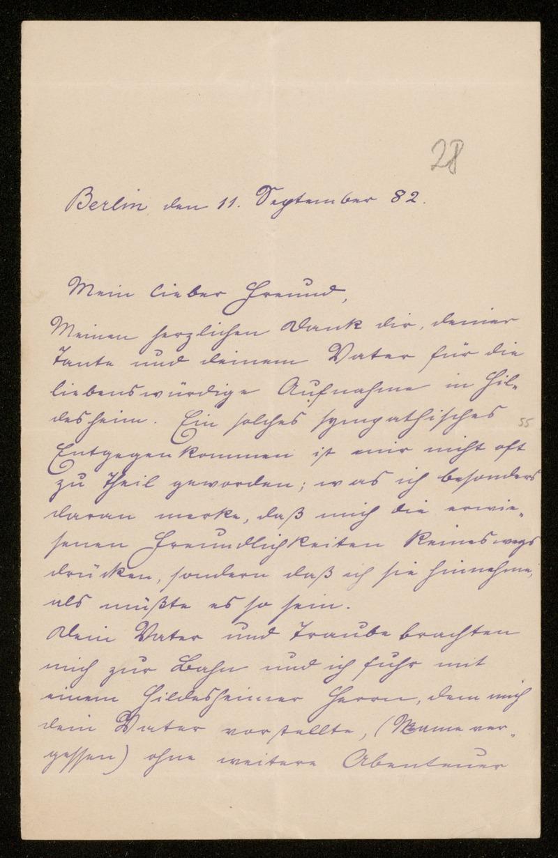 Brief von Carl Runge an Adolf Hurwitz, Berlin, 11.9.1882