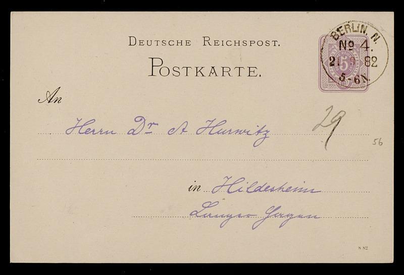 Postkarte von Carl Runge an Adolf Hurwitz, Berlin, 21.9.1882
