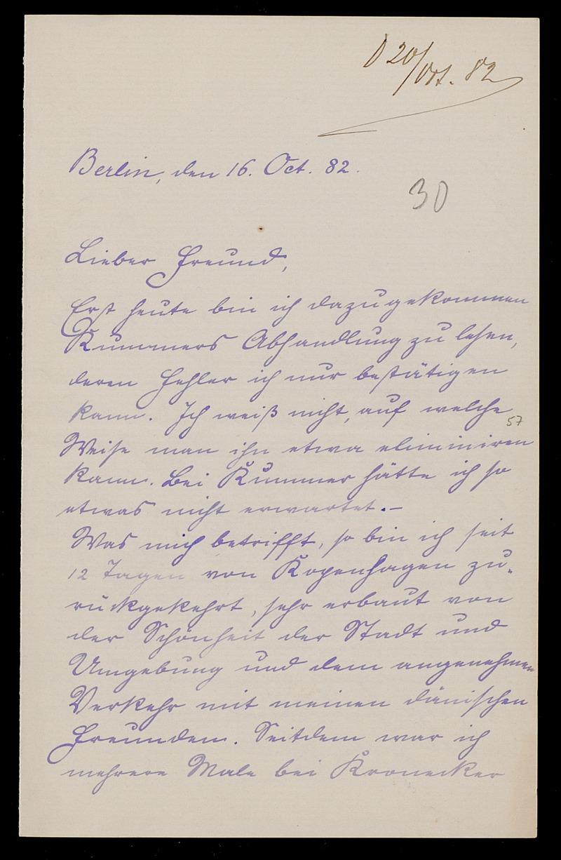 Brief von Carl Runge an Adolf Hurwitz, Berlin, 16.10.1882