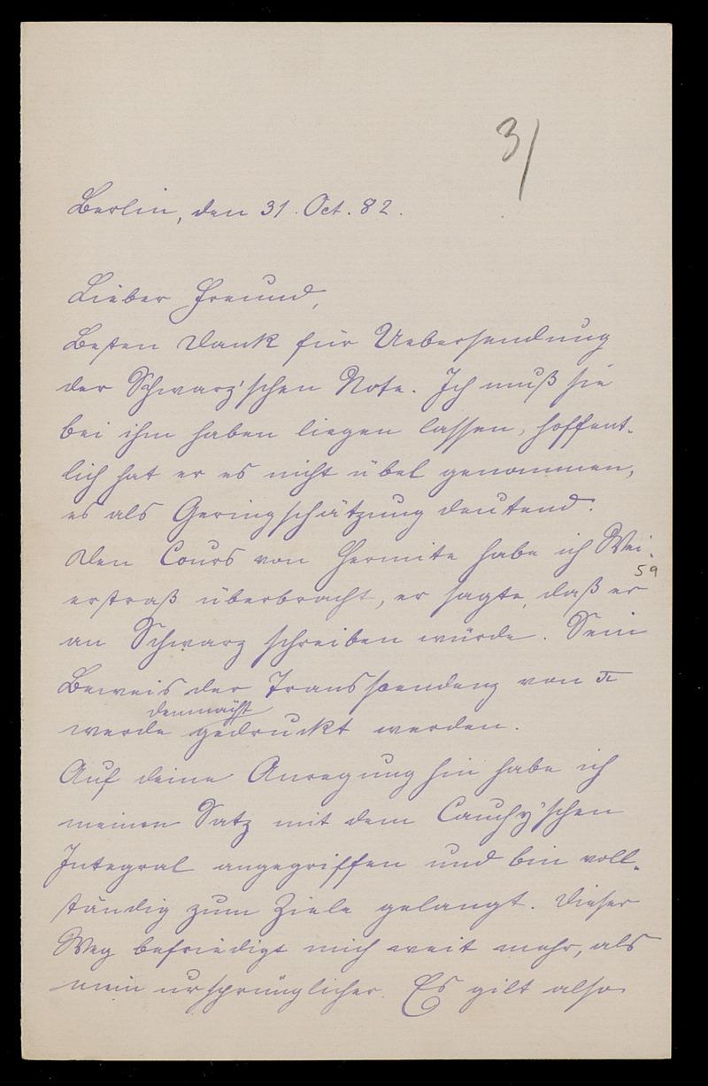 Brief von Carl Runge an Adolf Hurwitz, Berlin, 31.10.1882