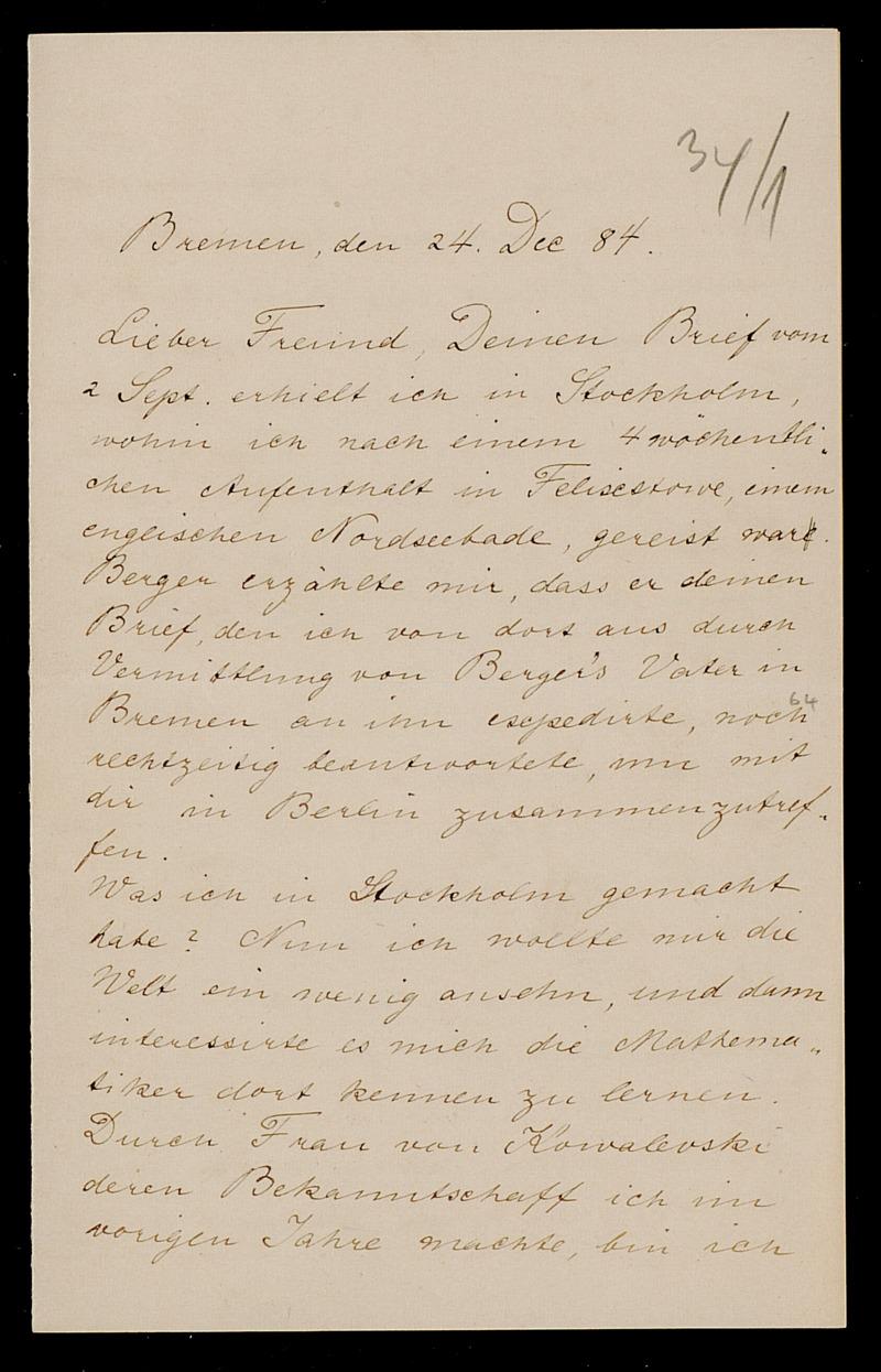 Brief von Carl Runge an Adolf Hurwitz, Bremen, 24.12.1884