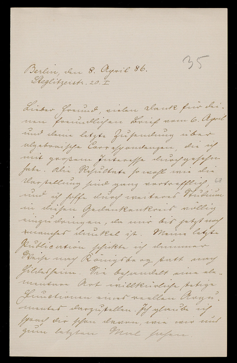 Brief von Carl Runge an Adolf Hurwitz, Berlin, 8.4.1886