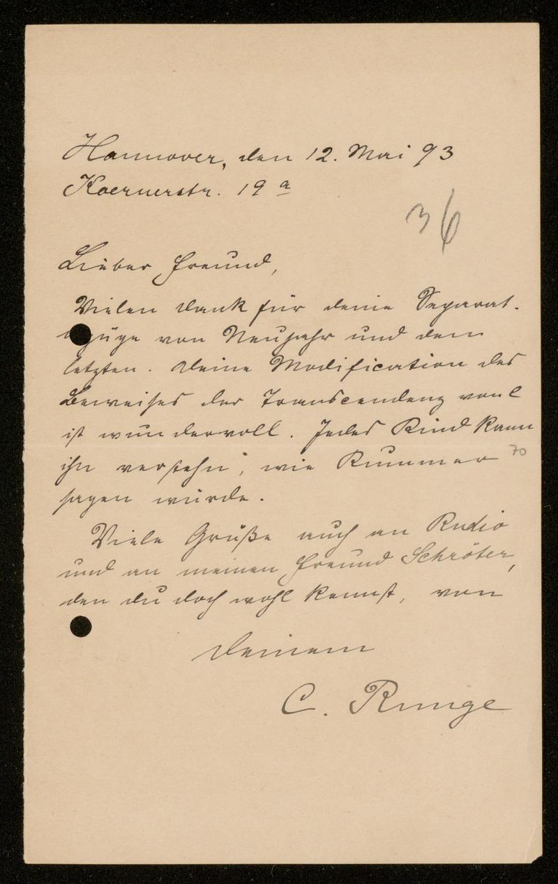 Brief von Carl Runge an Adolf Hurwitz, Hannover, 12.5.1893