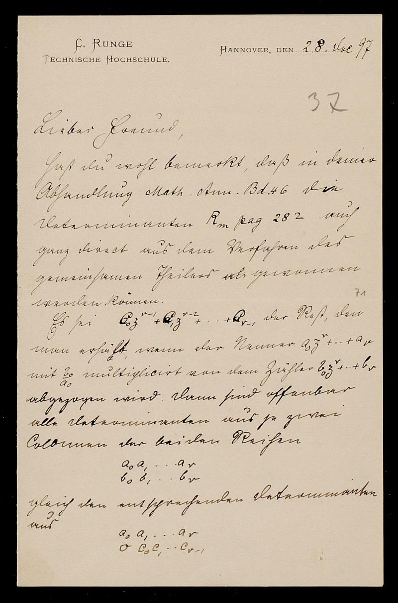 Brief von Carl Runge an Adolf Hurwitz, Hannover, 28.12.1897
