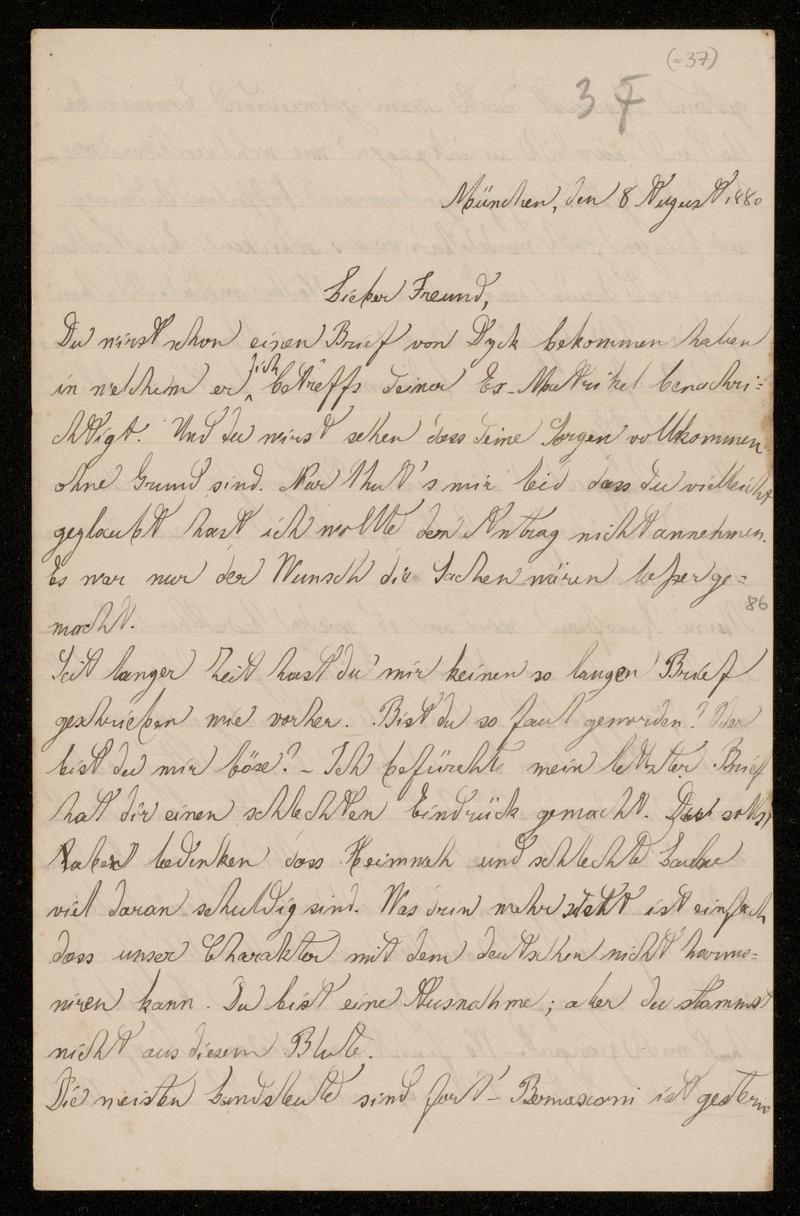 Brief von Luigi Bianchi an Adolf Hurwitz, München, 8.8.1880