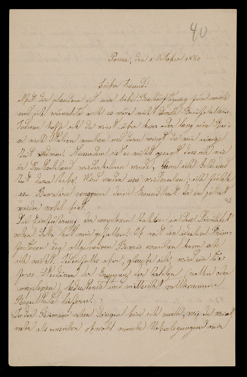 Brief von Luigi Bianchi an Adolf Hurwitz, Parma, 1.10.1880