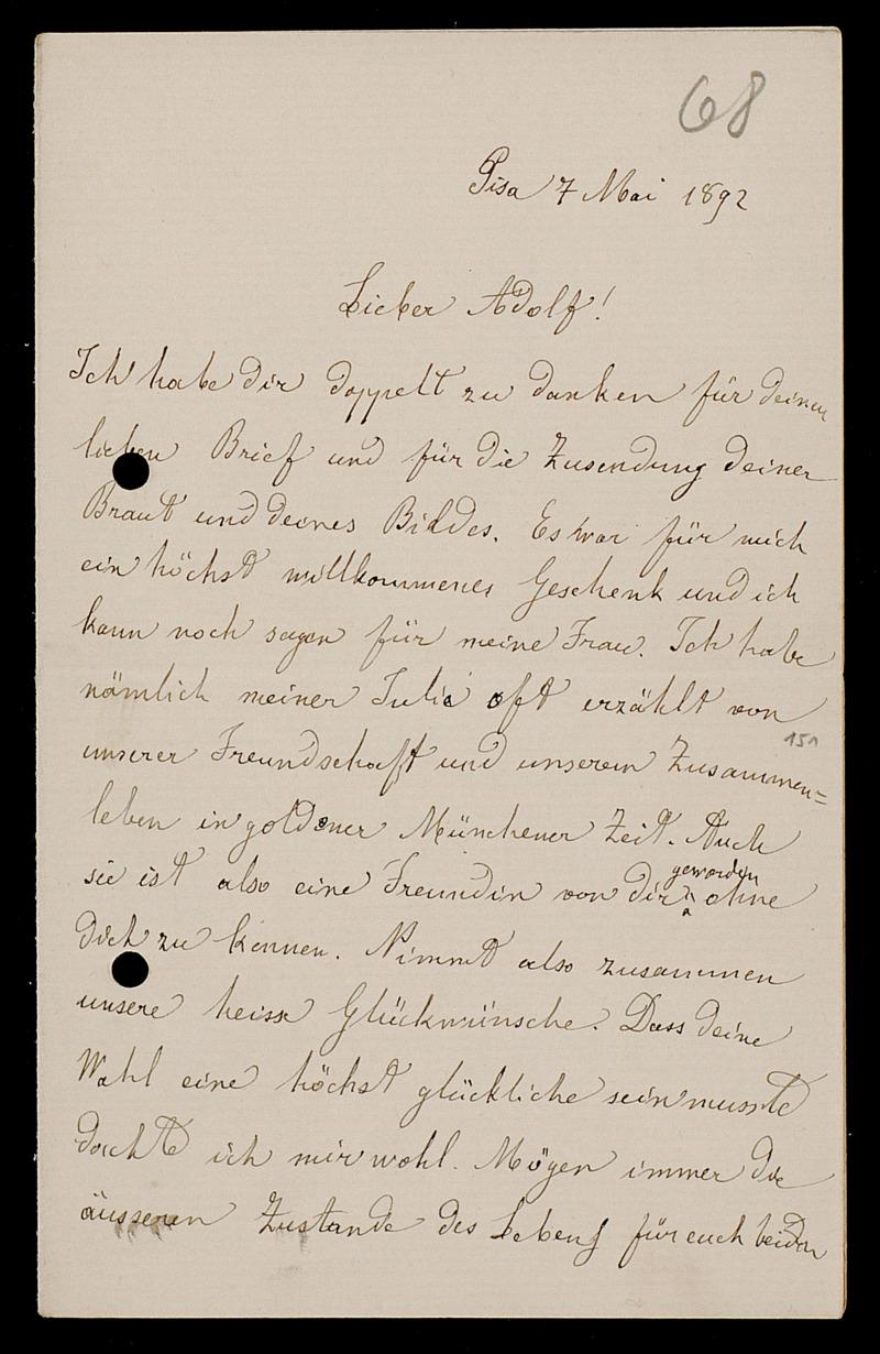 Brief von Luigi Bianchi an Adolf Hurwitz, Pisa, 7.5.1892