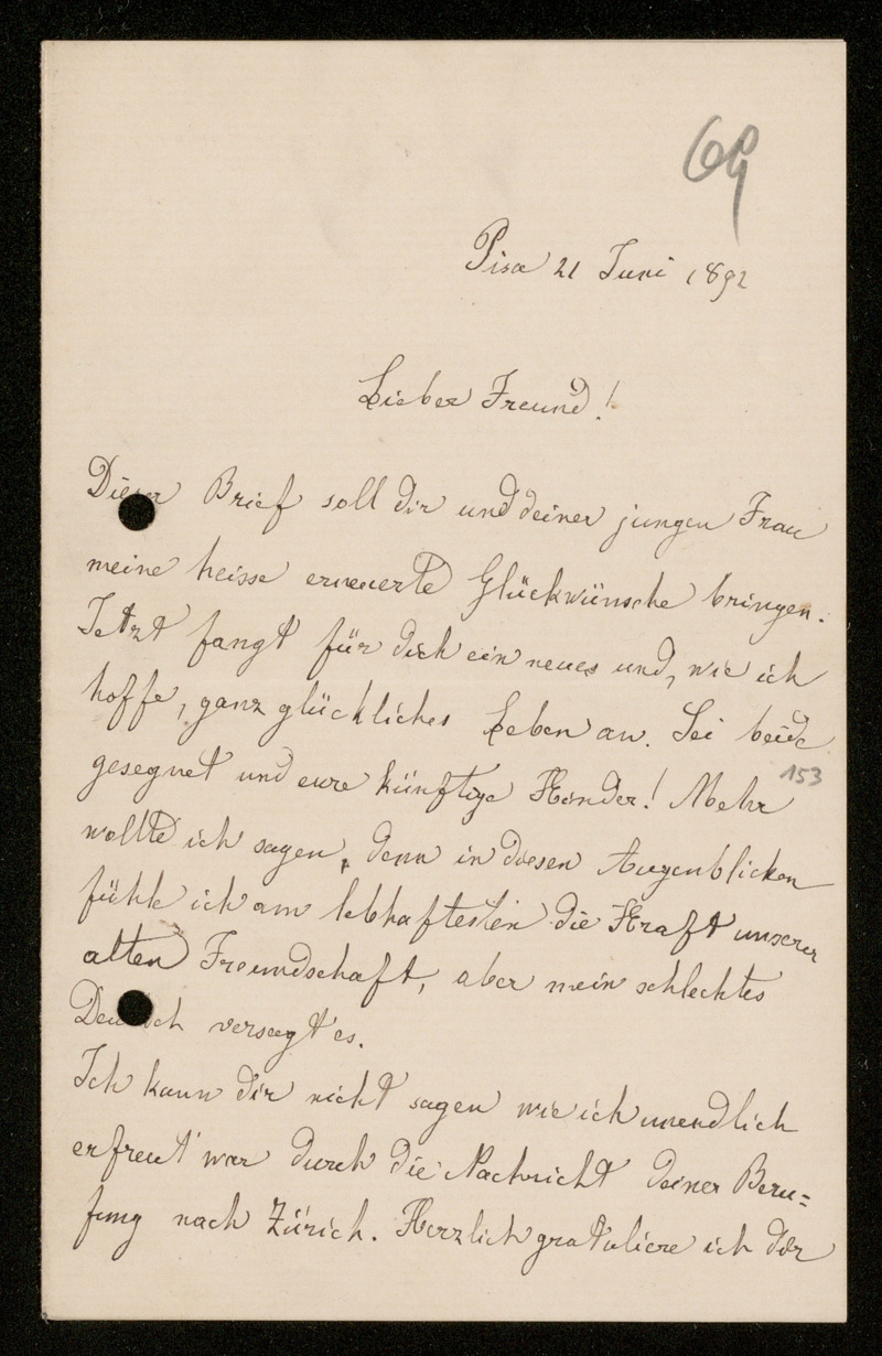 Brief von Luigi Bianchi an Adolf Hurwitz, Pisa, 21.6.1892