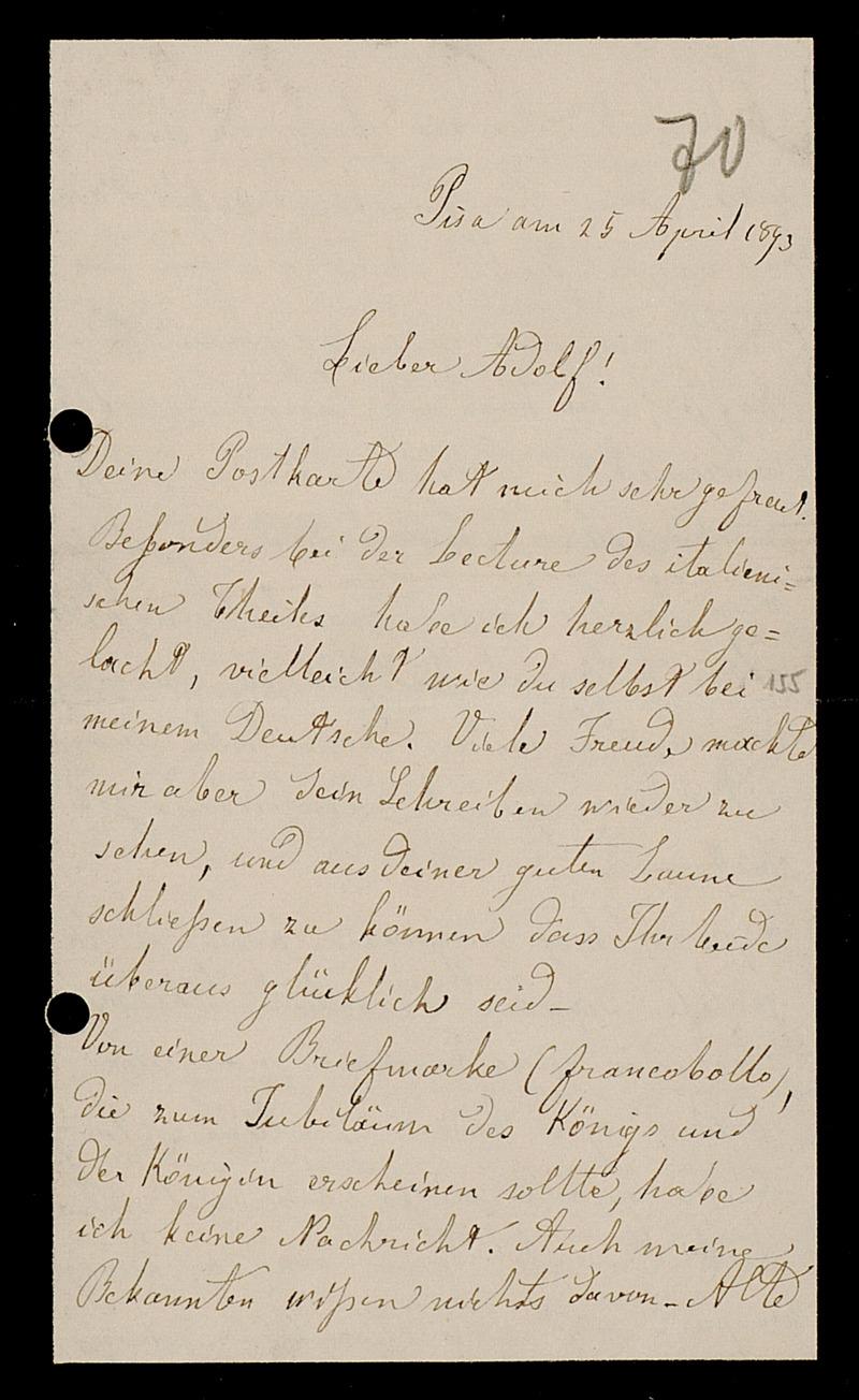 Brief von Luigi Bianchi an Adolf Hurwitz, Pisa, 25.4.1893
