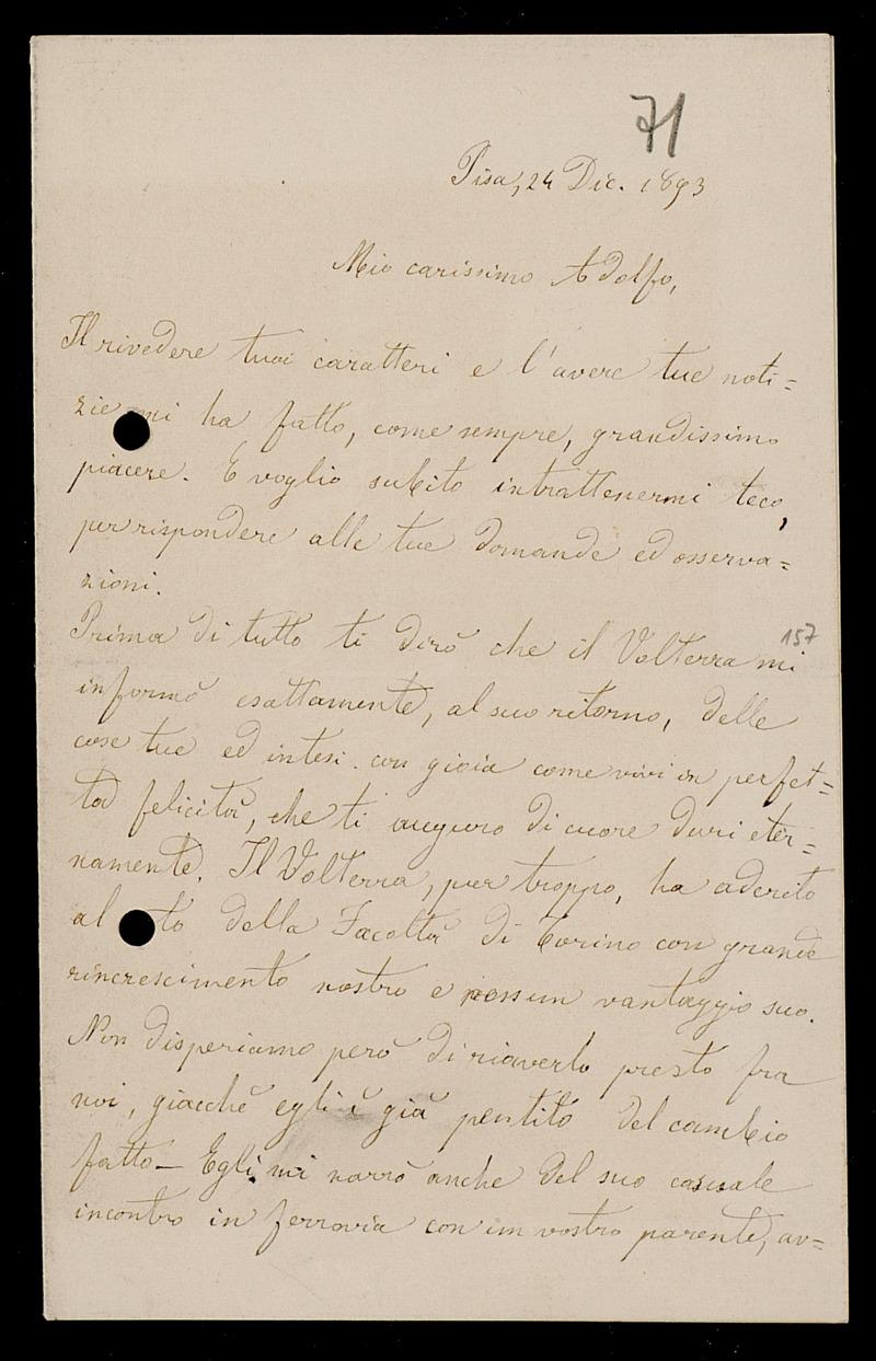Brief von Luigi Bianchi an Adolf Hurwitz, Pisa, 24.12.1893
