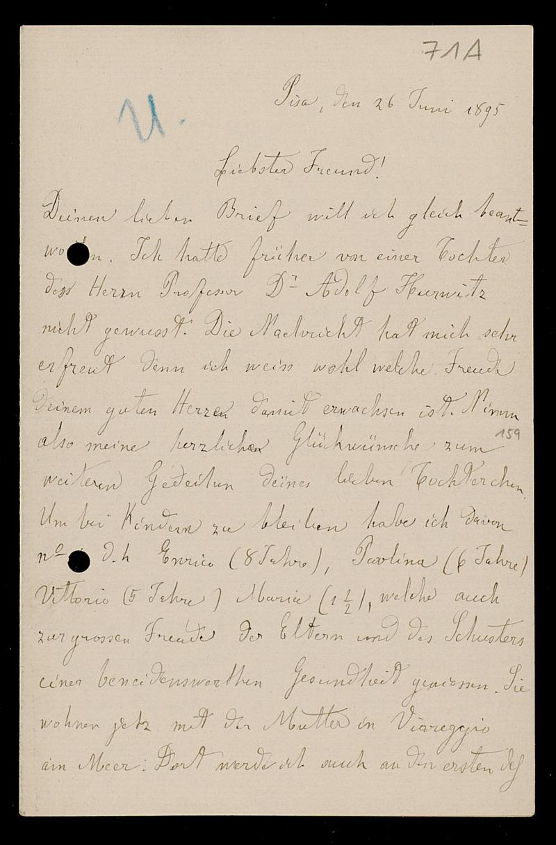 Brief von Luigi Bianchi an Adolf Hurwitz, Pisa, 26.6.1895