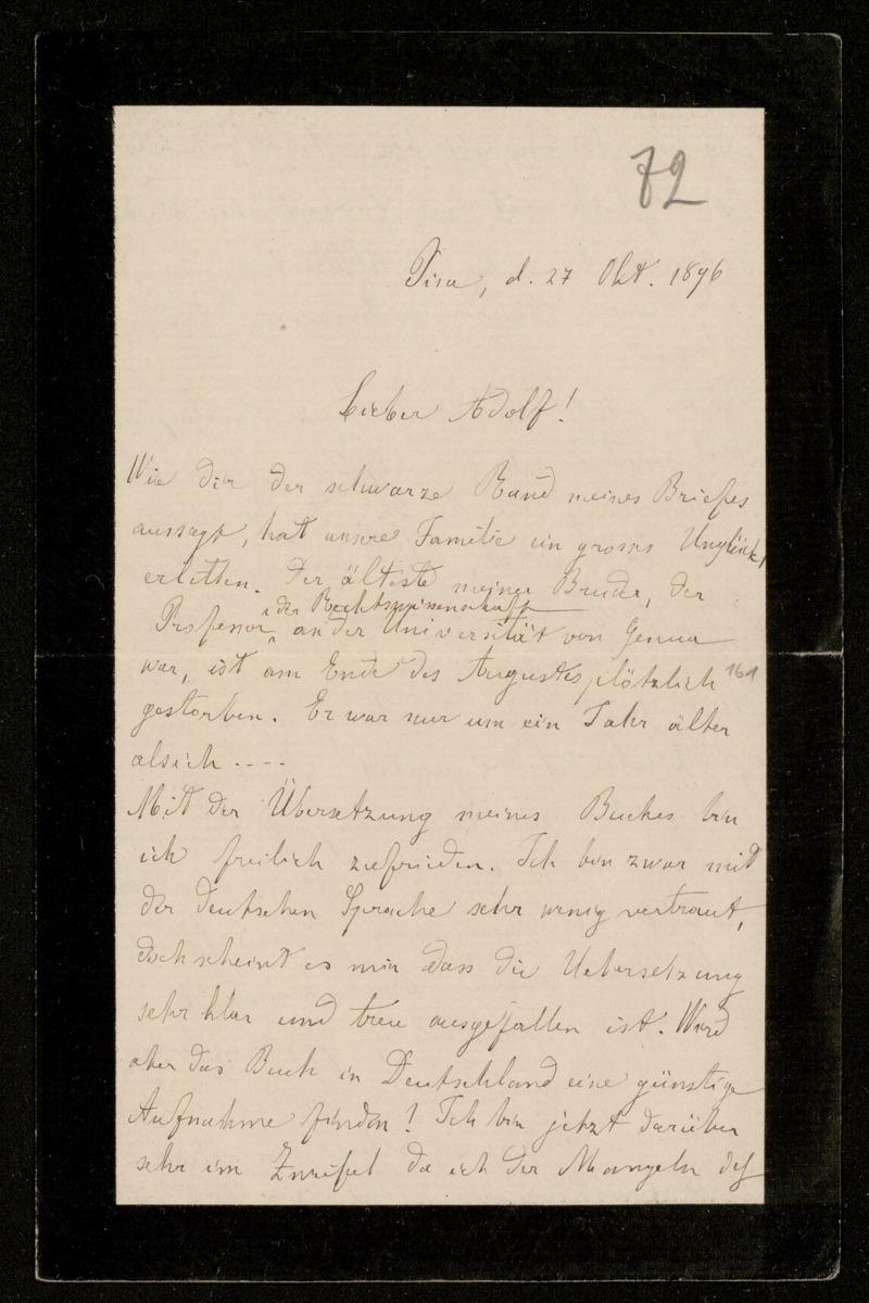 Brief von Luigi Bianchi an Adolf Hurwitz, Pisa, 27.10.1896