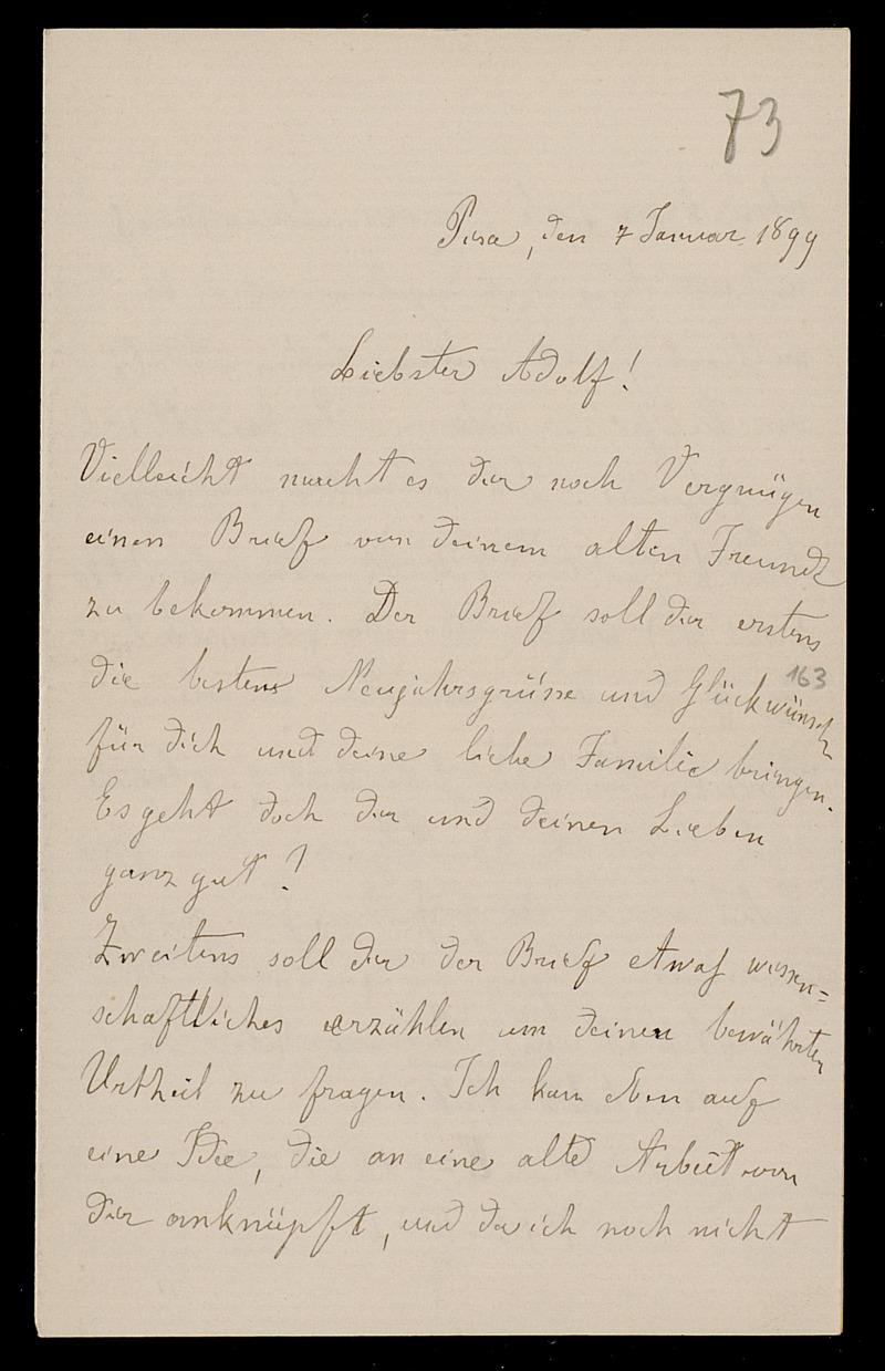 Brief von Luigi Bianchi an Adolf Hurwitz, Pisa, 7.1.1899