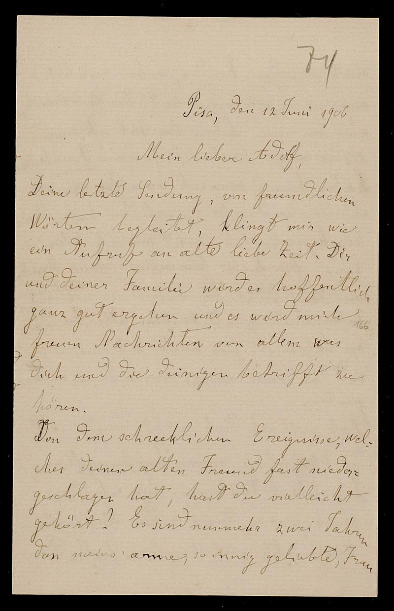 Brief von Luigi Bianchi an Adolf Hurwitz, Pisa, 12.6.1906