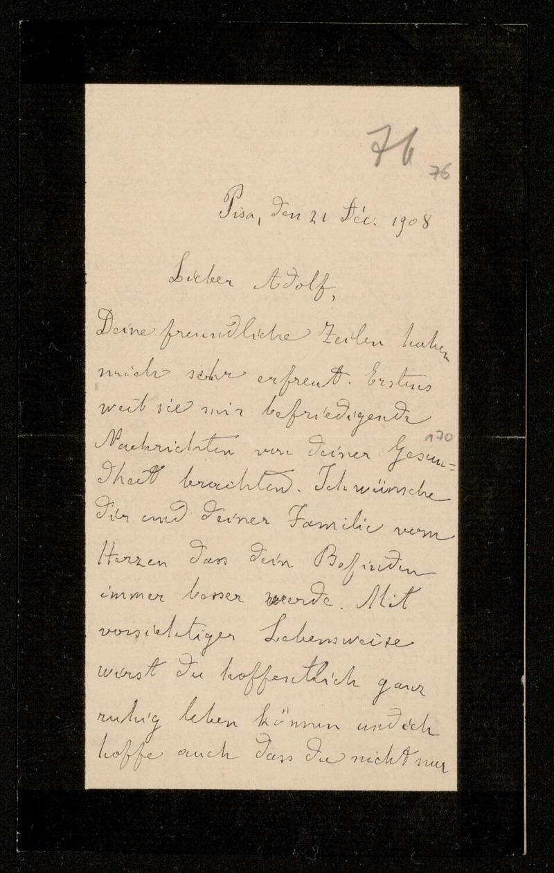 Brief von Luigi Bianchi an Adolf Hurwitz, Pisa, 21.12.1908