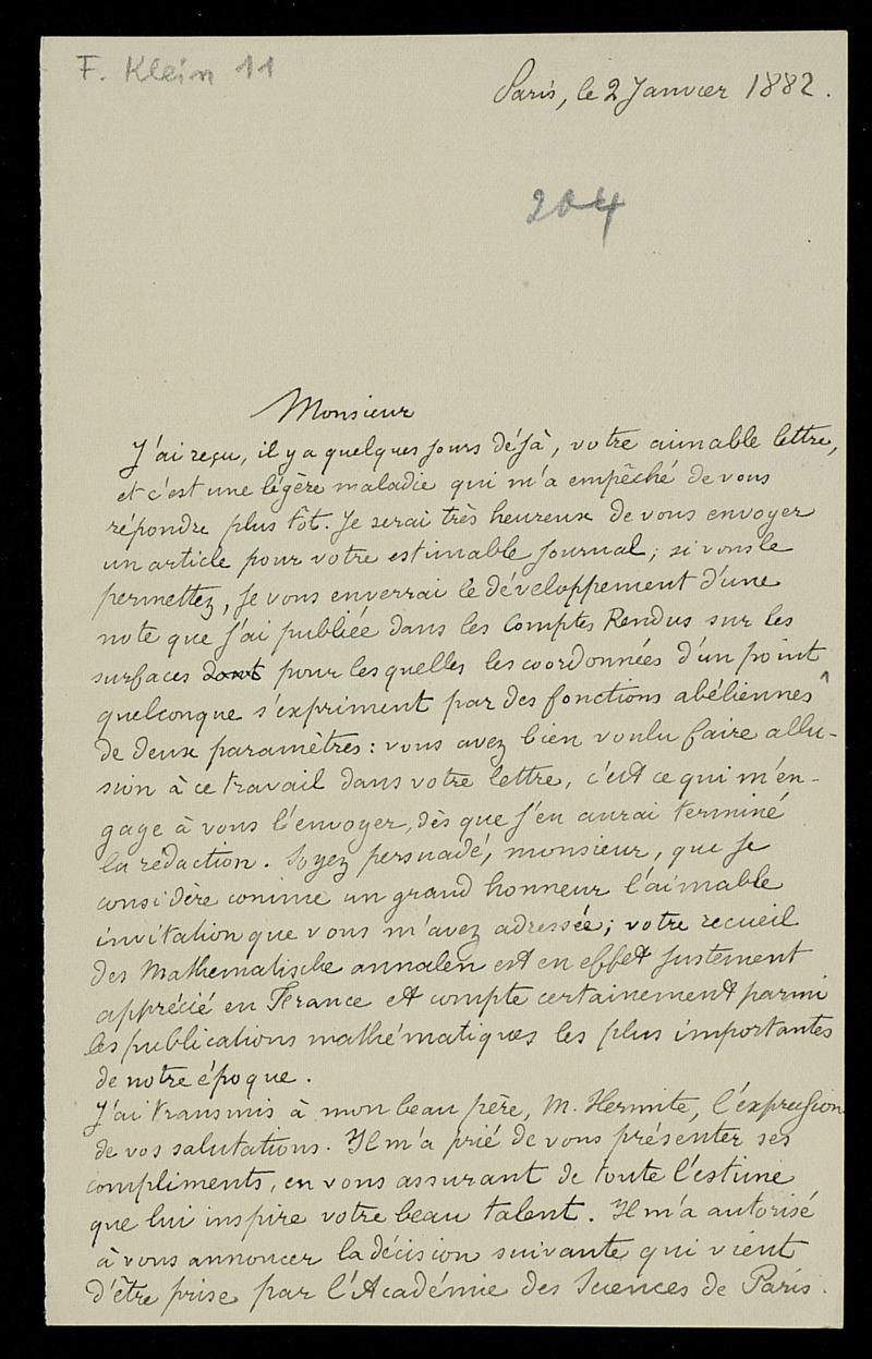 Brief von Emile Picard an Felix Klein, Paris, 2.1.1882