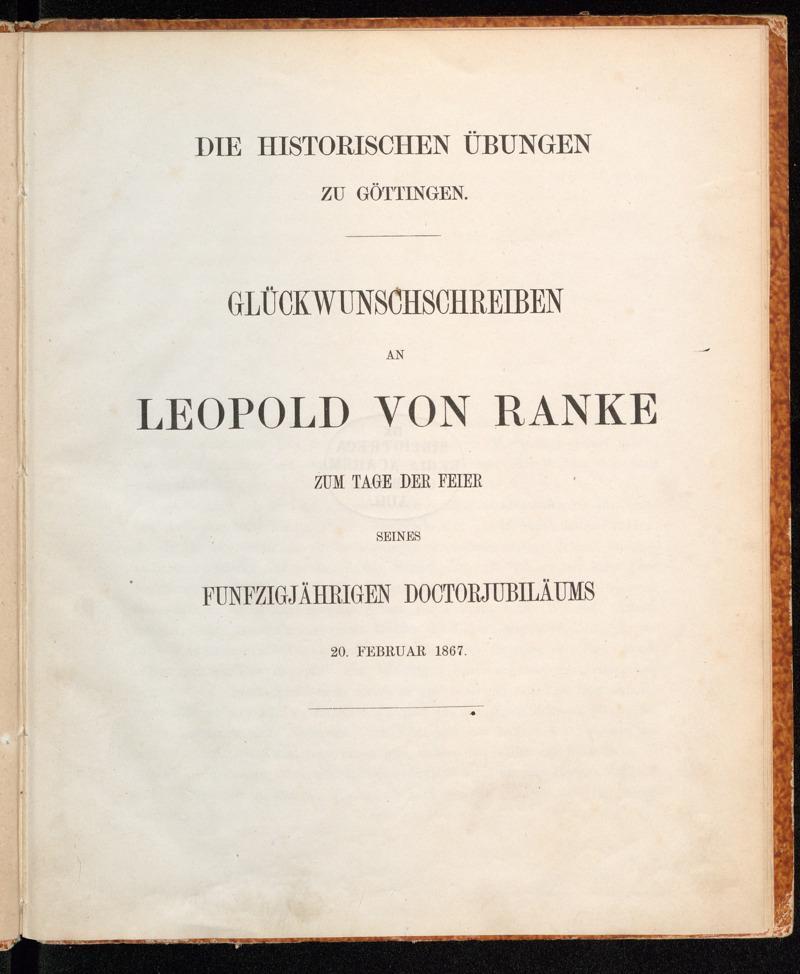 Diehistorischen Übungen zu Göttingen