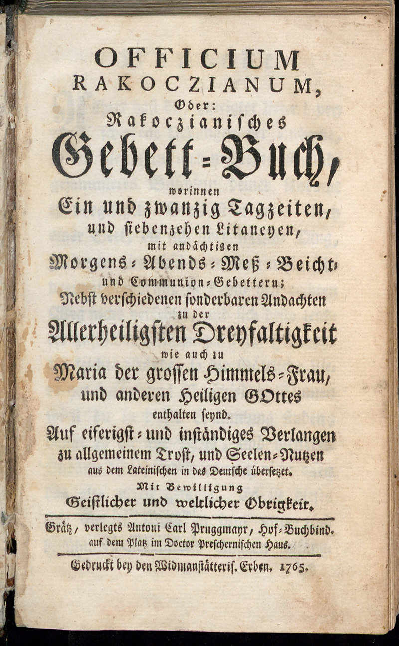 Officium Rakoczianum, Oder: Rakoczianisches Gebett-Buch