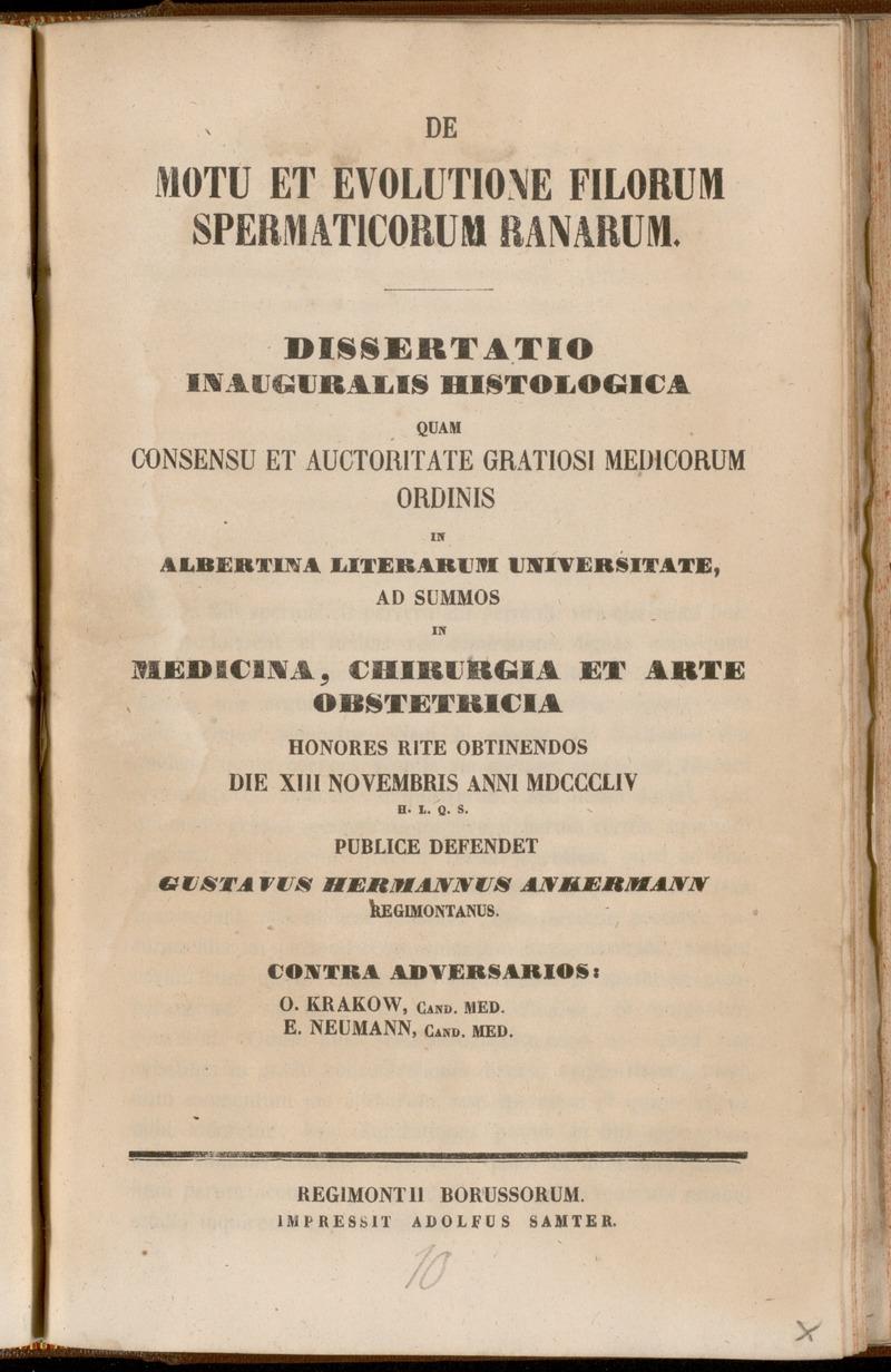 De Motu Et Evolutione Filorum Spermaticorum Ranarum