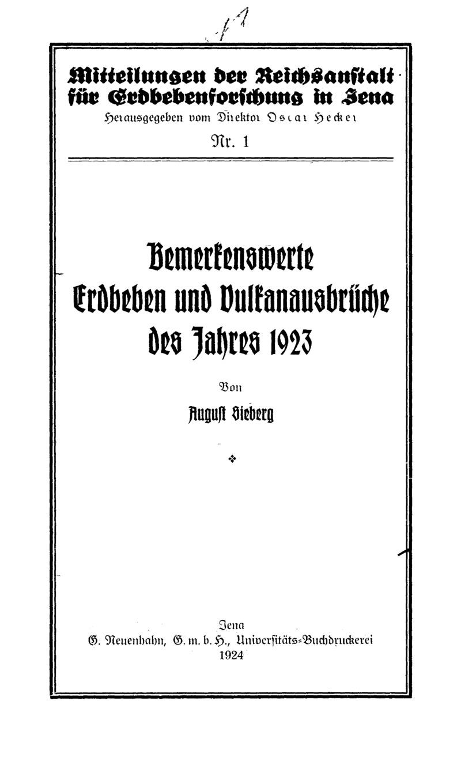 Bemerkenswerte Erdbeben und Vulkanausbrüche des Jahres 1923