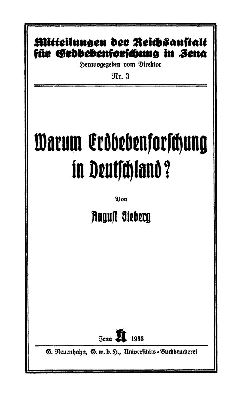 Warum Erdbebenforschung in Deutschland?