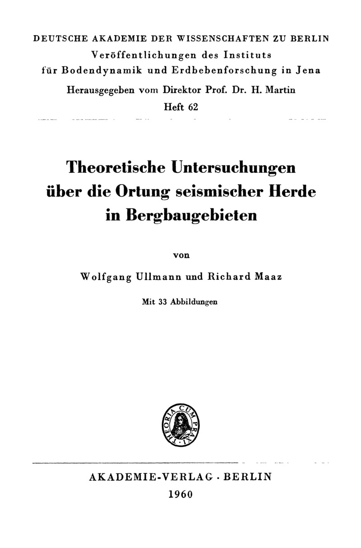 Theoretische Untersuchungen über die Ortung seismischer Herde in Bergbaugebieten