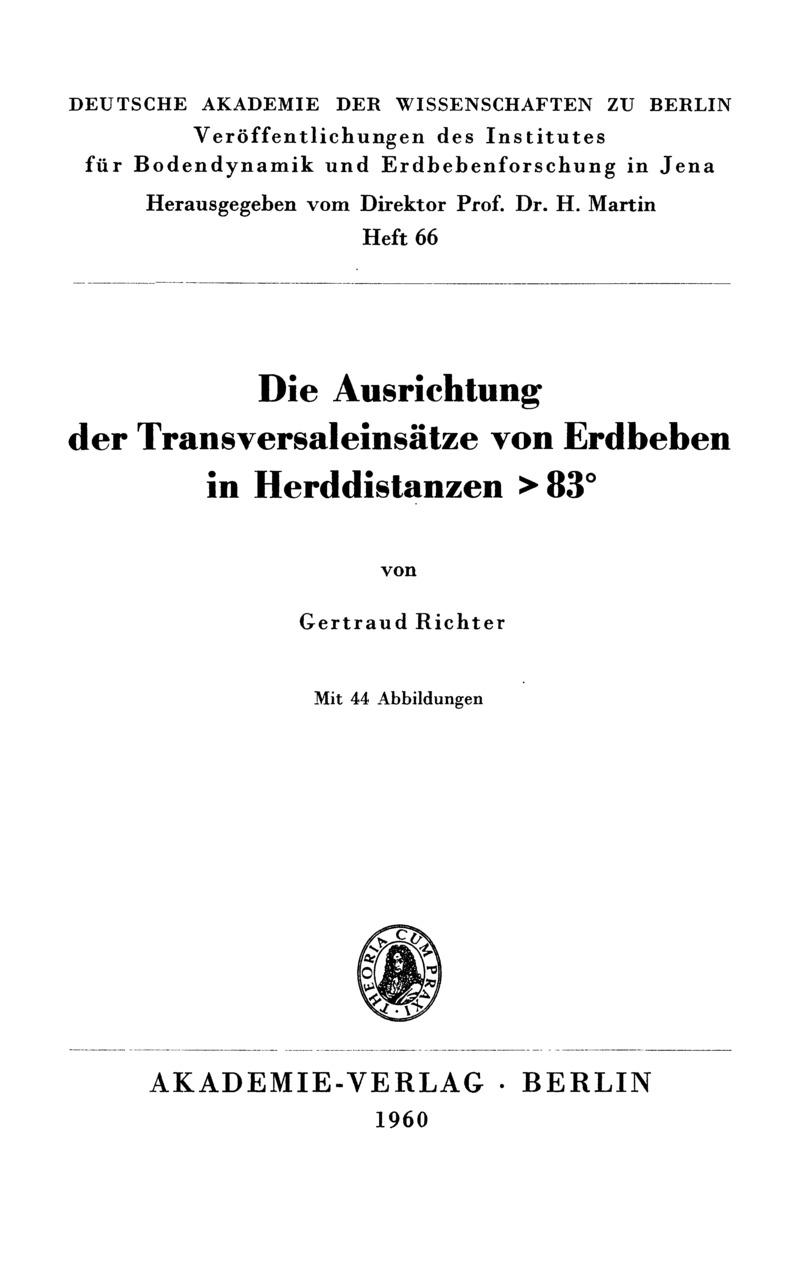 DieAusrichtung der Transversaleinsätze von Erdbeben in Herddistanzen > 83°