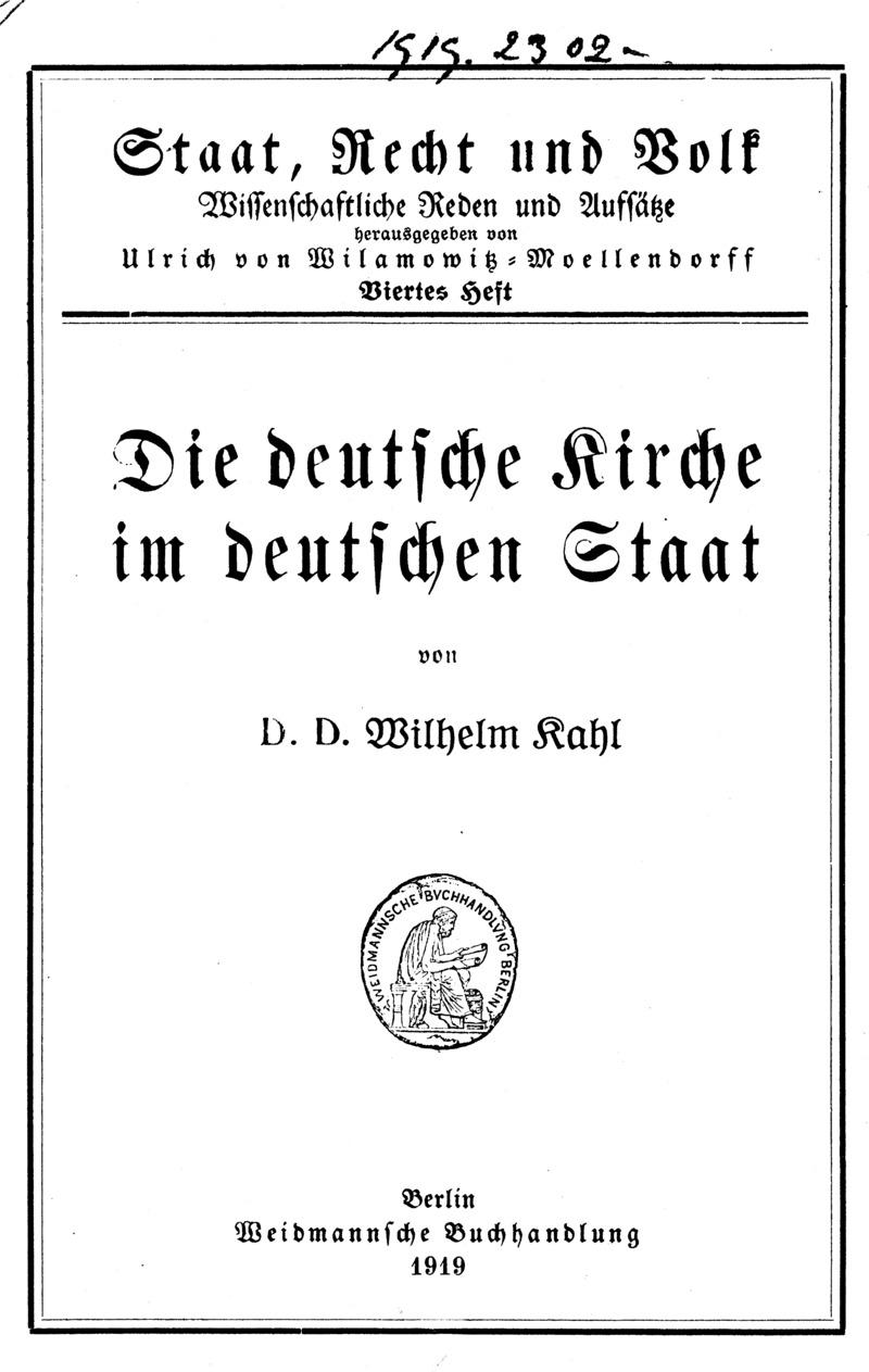Die deutsche Kirche im deutschen Staat
