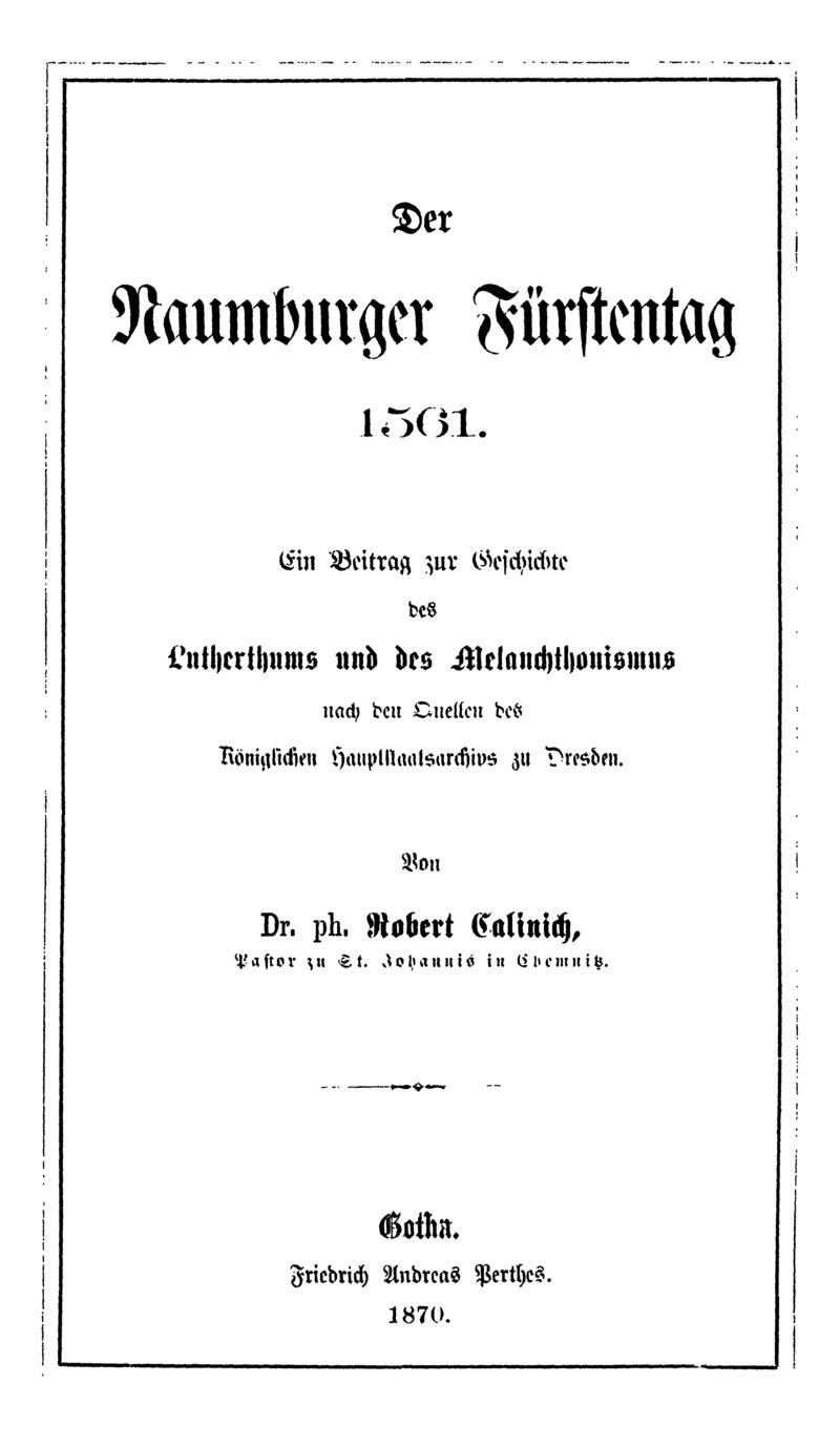 Der Naumburger Fürstentag 1561