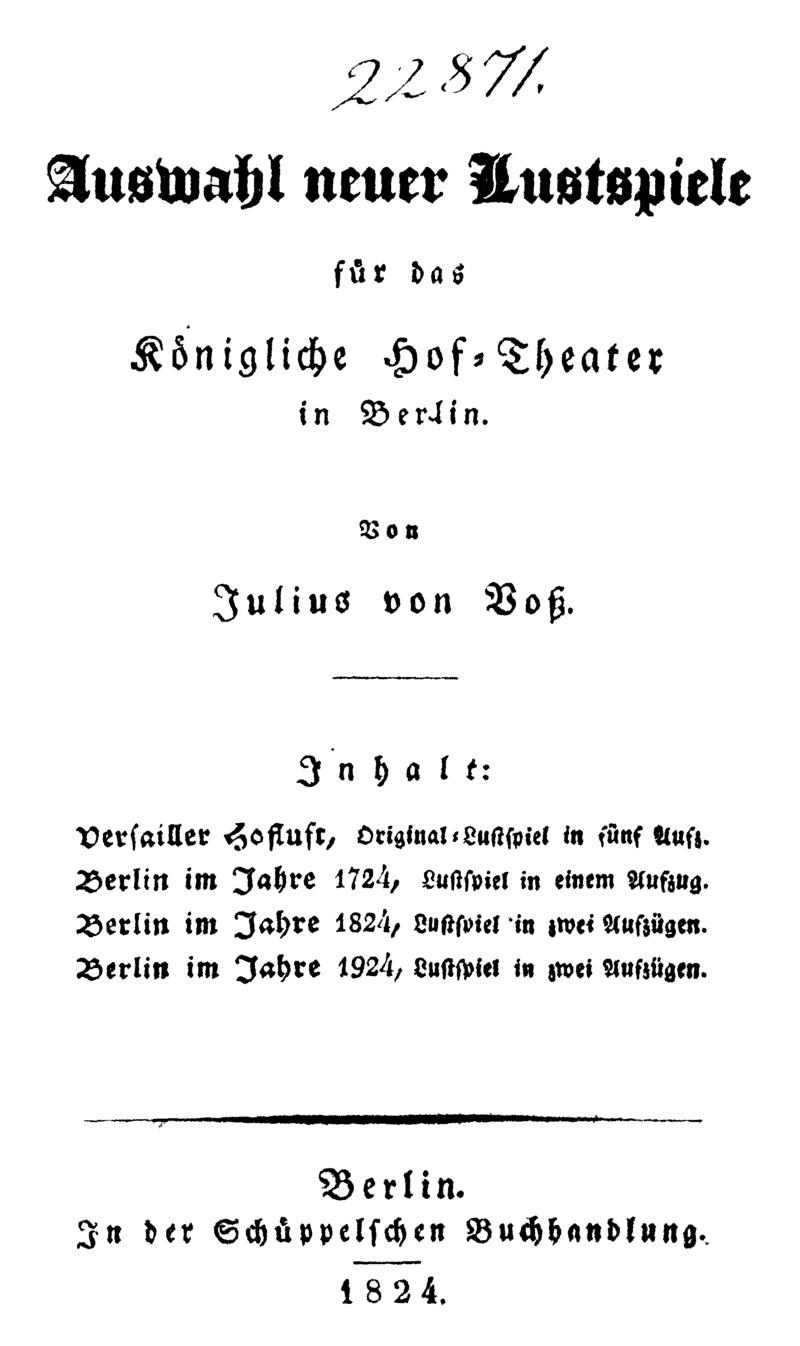 Auswahl neuer Lustspiele für das Königliche Hof-Theater in Berlin